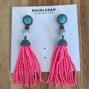 BaubleBar pink and turquoise tassel earrings
